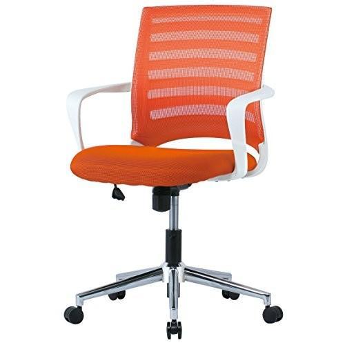 井上金庫 ホワイトフレーム ホワイトフレーム メッシュチェア 肘付き メッキ脚 オフィスチェア 事務椅子 GD-645 OR オレンジ