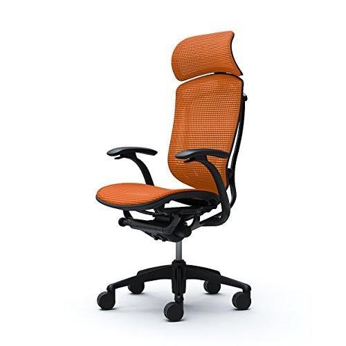 オカムラ オフィスチェア コンテッサ 固定肘 ヘッドレストタイプ 座 メッシュ オレンジ CM81BB-FBH8