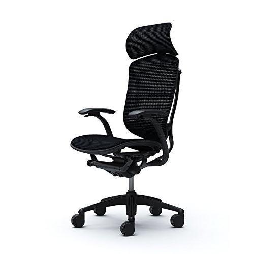 オカムラ オフィスチェア コンテッサ 固定肘 ヘッドレストタイプ 座 メッシュ ブラック CM81BB-FBH1
