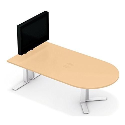 プラス XF TYPE-L テレビスタンド付ミーティングテーブル XL-2412MT ホワイトメープル ホワイトメープル シルバー 610537