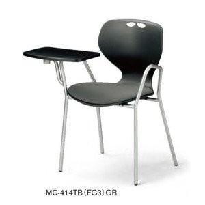アイコ MC-414TB MC-414TB メモ台付会議用事務椅子 パット座 ブラック本体+10色パッド 肘付 4脚セット FG3グレーGR