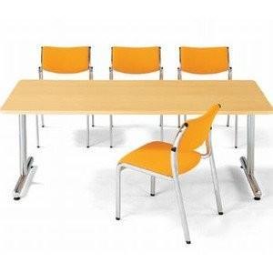 アイコ 会議用テーブル ミーティングデスク T脚1875K角型 クローム仕上 幅1800×奥行き750MM オークOAK