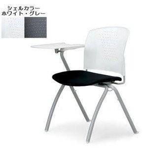 アイコ MC-304TW メモ台付 会議椅子 ミーティングチェア ミーティングチェア 4脚セット 本体 ホワイト F7茶BR