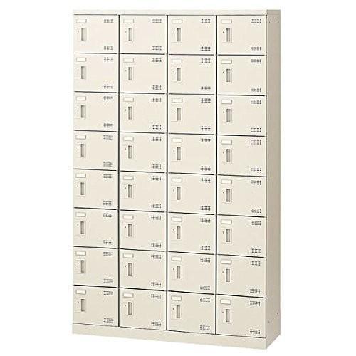 生興 SLBシューズボックス ダイヤル錠取っ手 ニューグレー色 4列8段32人用 W1100×D350×H1800 SLB-432-D