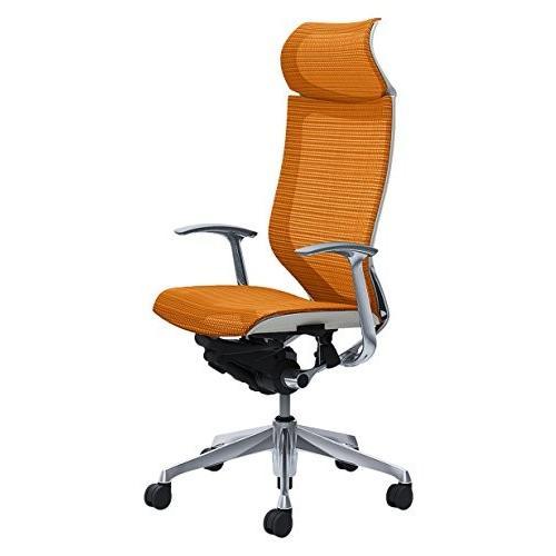 オカムラ オカムラ オフィスチェア バロン 固定ヘッドレスト 固定肘 オレンジ CP47AW-FDH8