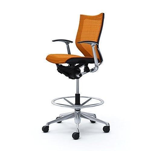 オカムラ オフィスチェア バロン バロン ローバック ハイポジションチェア 固定肘 オレンジ CP58AR-FDH8