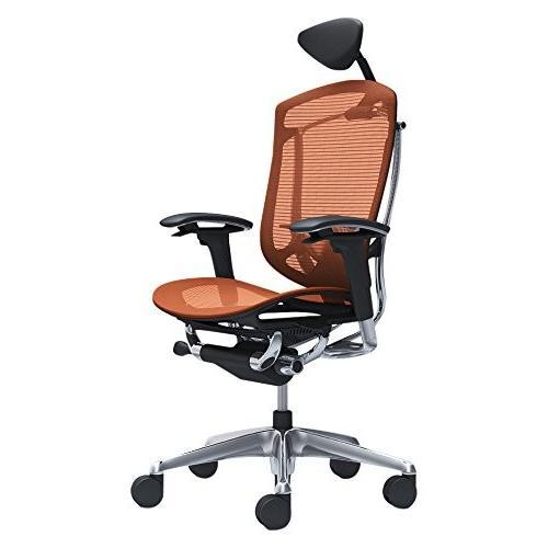 オカムラ オフィスチェア コンテッサ セコンダ 可動肘デスクチェア エクストラハイバック 座 メッシュ オレンジレッド CC8ABS-F