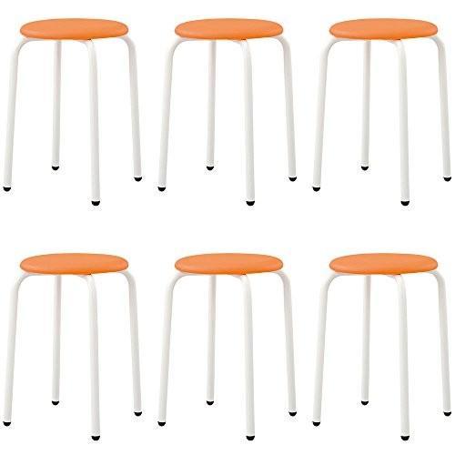 アイリスチトセ パイプ丸椅子 6脚セット スタッキング可能 パイプスツール オレンジ RS-42P RS-42P RS-42P 943