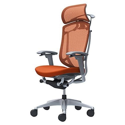 オカムラ オフィスチェア コンテッサ セコンダ 可動肘 エクストラハイバック 座 クッション オレンジレッド CC88GA-FPD8