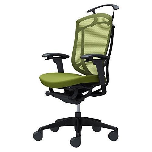 オカムラ オフィスチェア コンテッサ セコンダ 可動肘 ハイバック 座 クッション グリーン CC84MR-FPC5