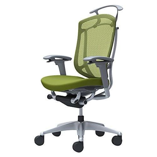 オカムラ オフィスチェア コンテッサ セコンダ 可動肘 ハイバック 座 クッション グリーン CC84GA-FPC5