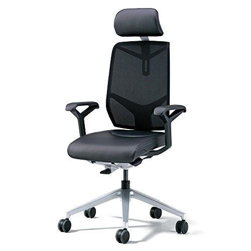 プラス ジロフレックス オフィスチェア GIROFLEX68 68-7619RML 革張り ヘッドレスト付 ブラック
