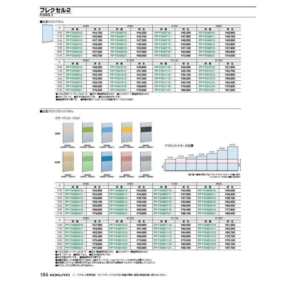 コクヨ 品番PP-FXN0821KDNA5 品番PP-FXN0821KDNA5 184 04.ローパーティション フレクセル2 H2135 W800 フレクセルII PP-FXN0