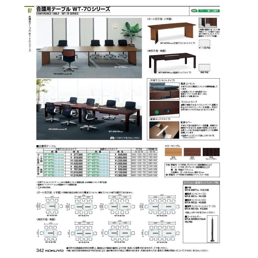 コクヨ品番 WT-W70VW33 会議テーブル 会議テーブル 70シリーズ V字脚