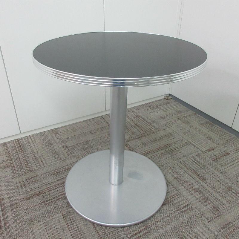 特価 円形ハイテーブル 天板ブラック 1本脚 床面円形タイプ