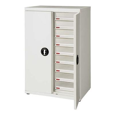 スチール製書類整理棚 レターケース 本物 A4深型2列9段扉付 激安通販 幅590×奥行402×高さ890mm