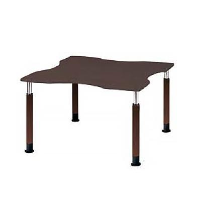 福祉施設用テーブル ラチェット式高さ調整脚 波型 幅1200×奥行1200×高さ600〜800mm FPS-1212Q ※下穴付き