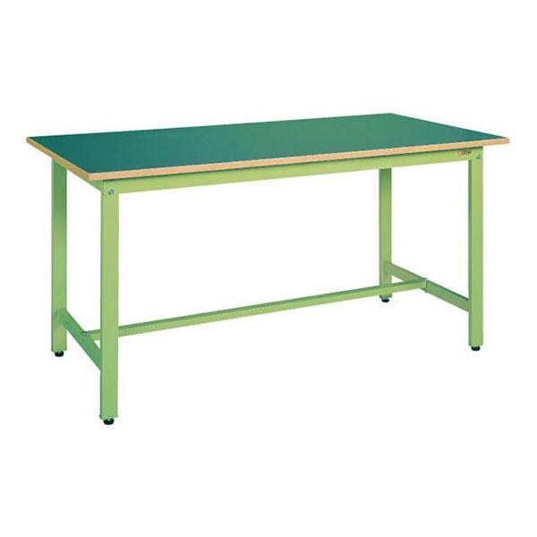 サカエ 軽量作業台 作業テーブル KSタイプ 均等耐荷重300kg 幅900×奥行600×高さ740mm グリーン アイボリー KS-096