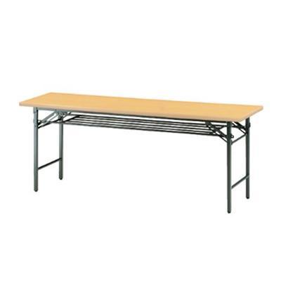 TSシリーズ 折りたたみテーブル 棚付き パネルなし ソフトエッジタイプ 幅1500×奥行450mm