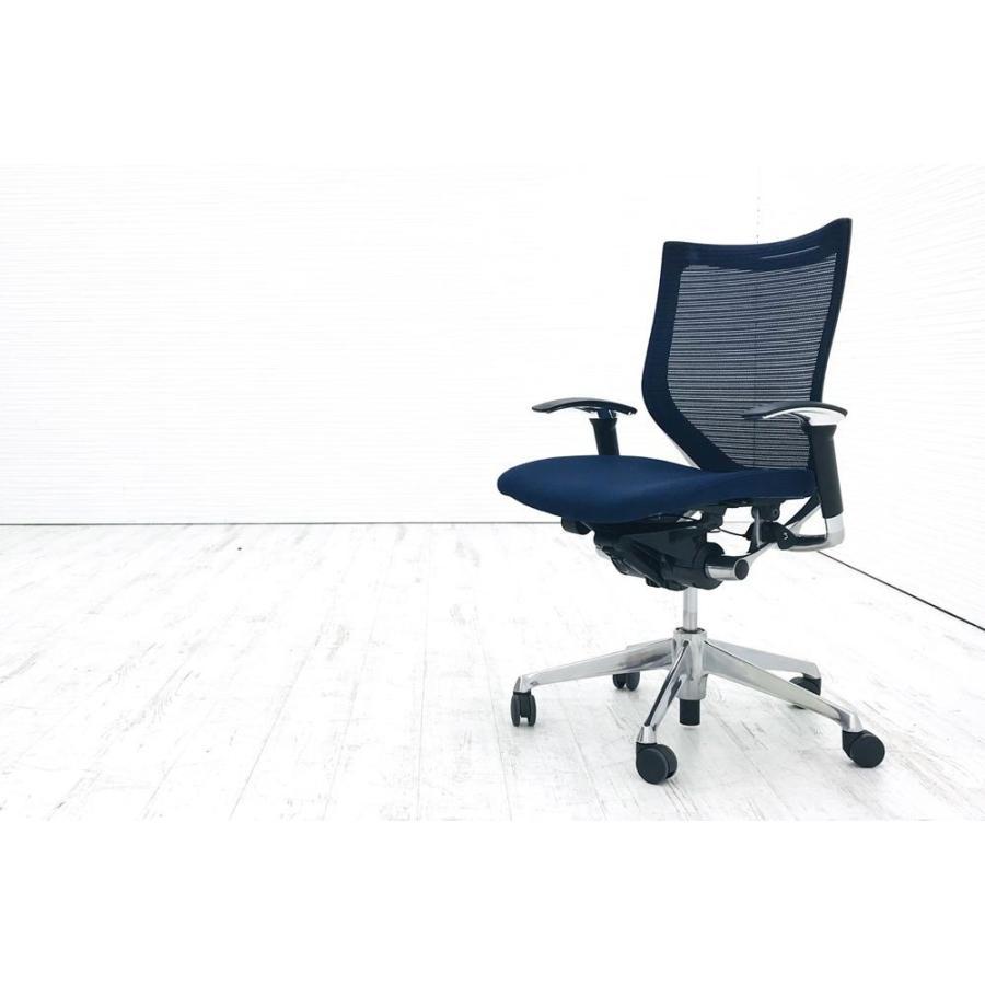 バロンチェア バロンチェア バロンチェア 中古 オカムラ 可動肘 ローバック ポリッシュフレーム クッション 中古オフィス家具 ダークブルー b80