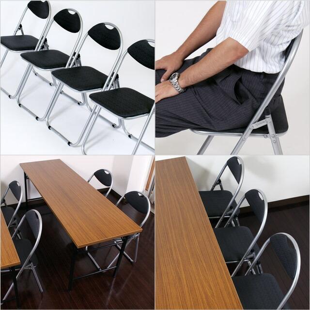 GRATES 折りたたみパイプ椅子 4脚セット『送料無料(一部地域除く)』|officetrust|03