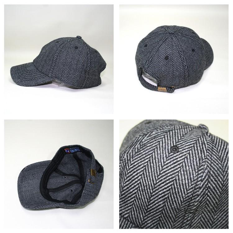 NEWHATTAN ヘリンボーン ウールブレンド ローキャップ  [ニューハッタン] ユニセックス 帽子 6パネル サーフ スケート スケーター アメカジ カジュアル WOOL CAP oguoy 02