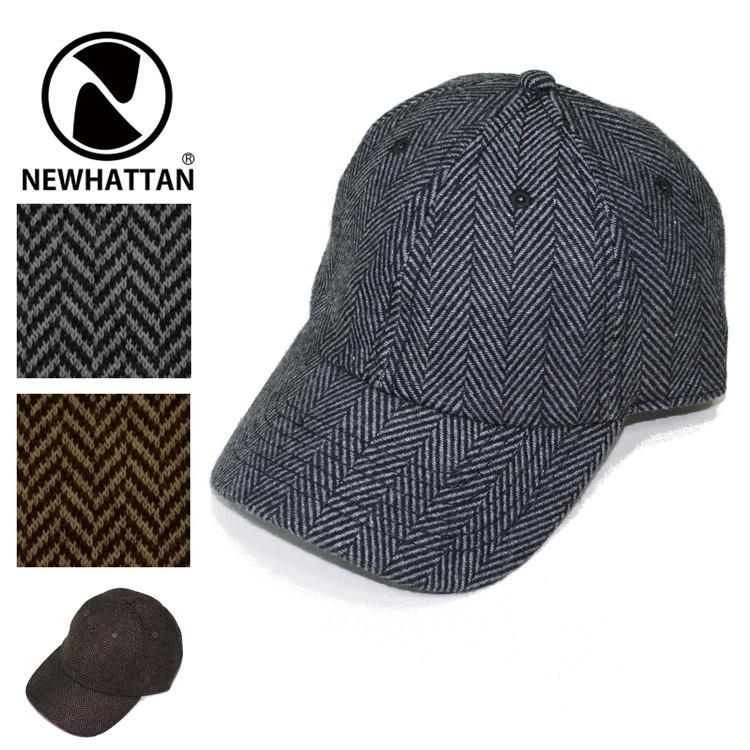 NEWHATTAN ヘリンボーン ウールブレンド ローキャップ  [ニューハッタン] ユニセックス 帽子 6パネル サーフ スケート スケーター アメカジ カジュアル WOOL CAP oguoy 06