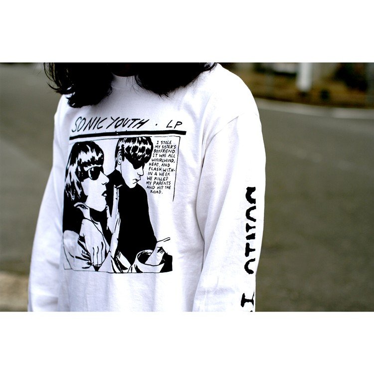 Sonic youth 「GOO 」「ソニックユース」 「オルタナ グランジ 」 ロンT 長袖Tシャツ 袖プリント オーバーサイズ BIG SIZE|oguoy|02