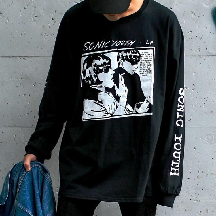 Sonic youth 「GOO 」「ソニックユース」 「オルタナ グランジ 」 ロンT 長袖Tシャツ 袖プリント オーバーサイズ BIG SIZE|oguoy|06