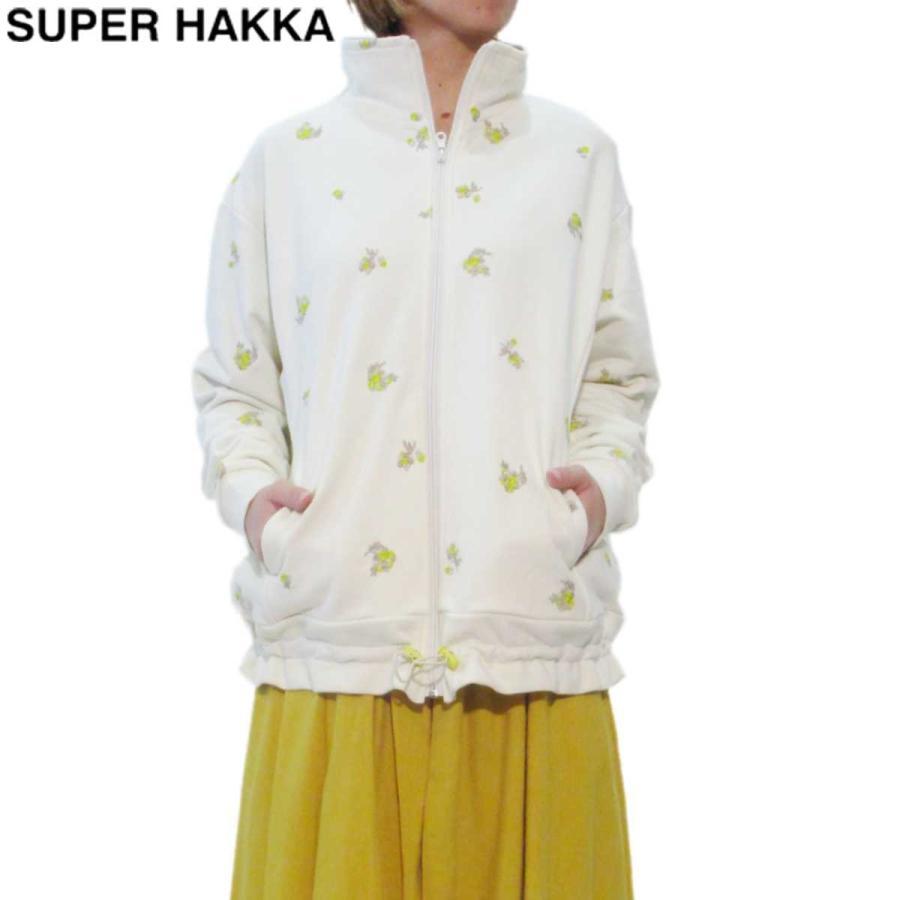 大流行中! SUPER HAKKA(スーパーハッカ) リングフラワードット刺しゅう裏毛ジップアップブルゾン ジャケット アウター レディース ハッカ ギフト プレゼント, 聴こえの小径 5a2edfae