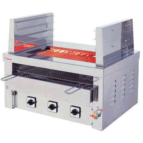 幅810 奥行550 押切電機 卓上型電気グリラー 両面焼棚付万能タイプ 給排水口付 G-12TW-1