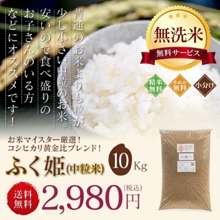 米 お米 新米入り 玄米 ブレンド米 セール 訳あり 無洗米 ふく姫 10kg 送料無料 中粒米|oisiiokomedesu