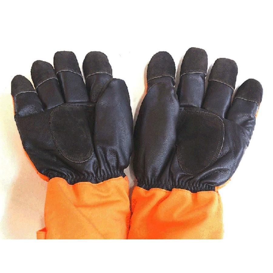 サンエス冷凍庫用防寒手袋 MB128 ・5本指(オレンジ×ブラック)