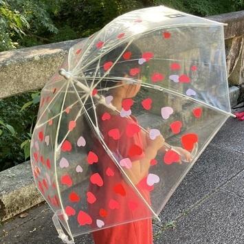 傘 子供用 かわいい ハート柄 50cm ビニール傘 ジャンプ傘 グラスファイバー骨 強い 丈夫 送料無料 無料包装 無料誕生日メッセージカード付|okamoto-kasa|04