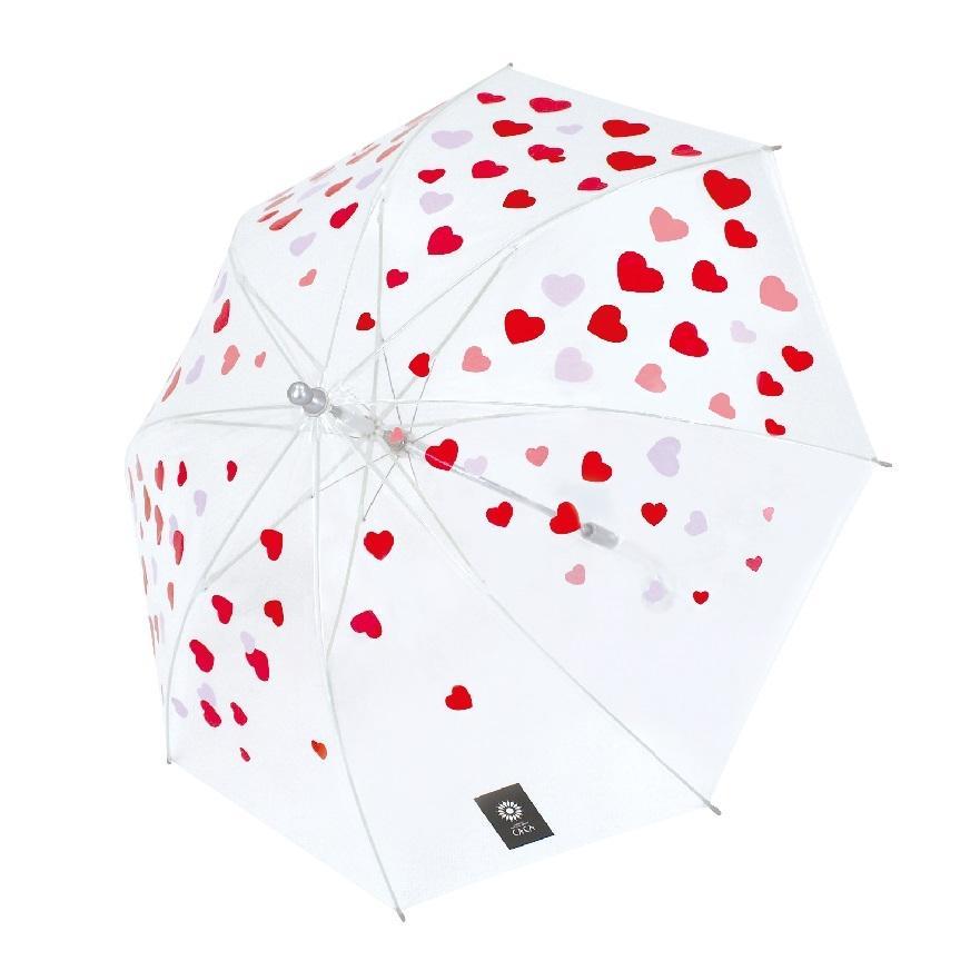 傘 子供用 かわいい ハート柄 50cm ビニール傘 ジャンプ傘 グラスファイバー骨 強い 丈夫 送料無料 無料包装 無料誕生日メッセージカード付|okamoto-kasa|06