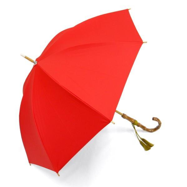 日傘 レディース 晴雨兼用傘 国産生地 真赤な無地柄 遮光率 UVカット 99%以上 50cm 竹手元 手開き傘  送料無料|okamoto-kasa|02