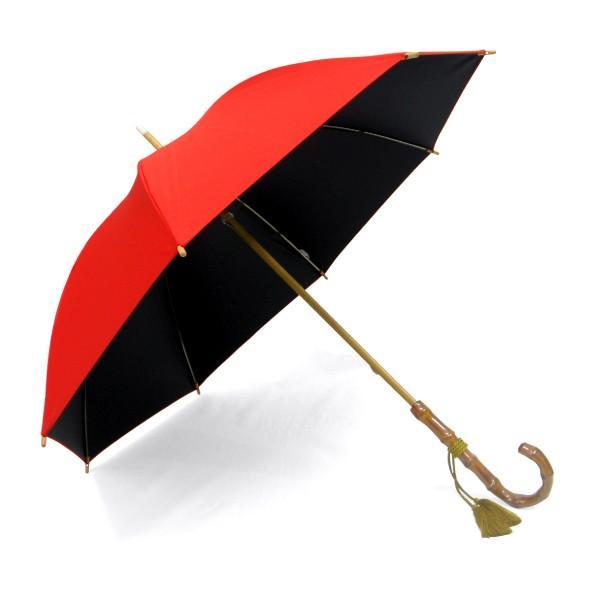 日傘 レディース 晴雨兼用傘 国産生地 真赤な無地柄 遮光率 UVカット 99%以上 50cm 竹手元 手開き傘  送料無料|okamoto-kasa|03