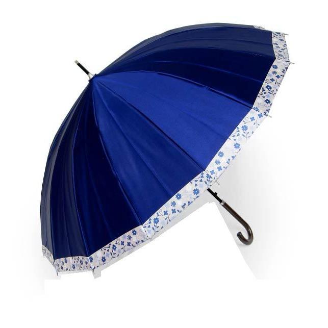 傘 レディース 高級感のあるサテン地 裾花柄 16本骨 60cm ジャンプ傘 無料包装 母の日 誕生日カード付 送料無料 okamoto-kasa 19