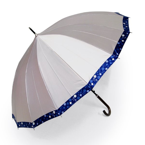 傘 レディース 高級感のあるサテン地 裾花柄 16本骨 60cm ジャンプ傘 無料包装 母の日 誕生日カード付 送料無料 okamoto-kasa 20