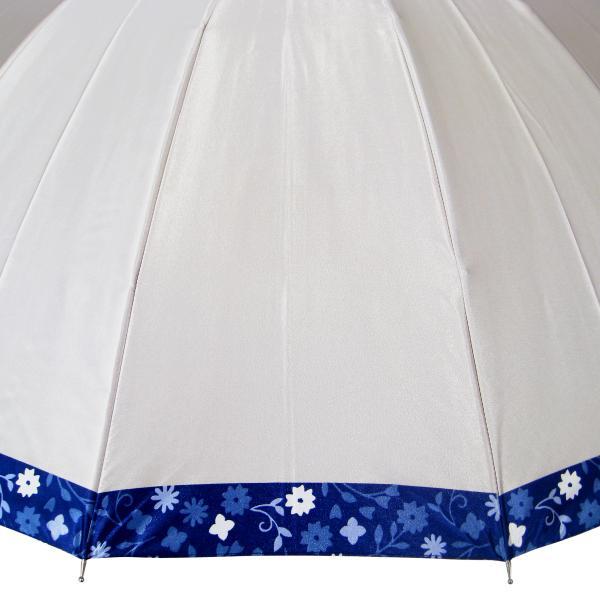 傘 レディース 高級感のあるサテン地 裾花柄 16本骨 60cm ジャンプ傘 無料包装 母の日 誕生日カード付 送料無料 okamoto-kasa 14