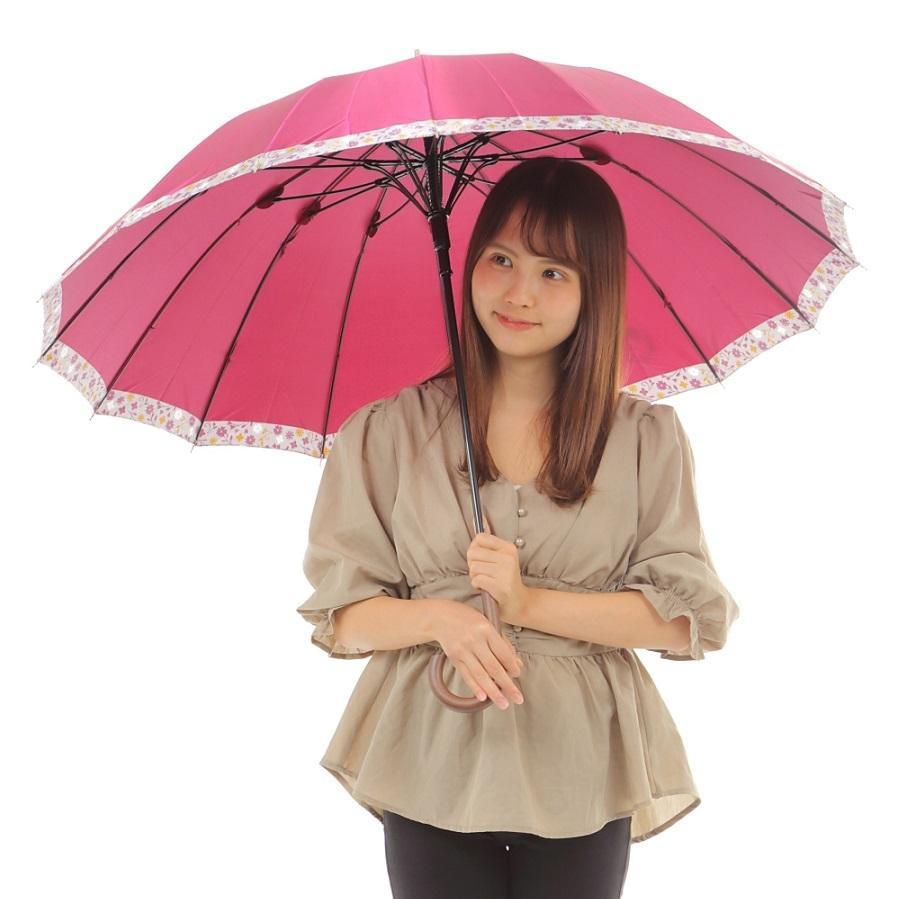 傘 レディース 高級感のあるサテン地 裾花柄 16本骨 60cm ジャンプ傘 無料包装 母の日 誕生日カード付 送料無料 okamoto-kasa 03