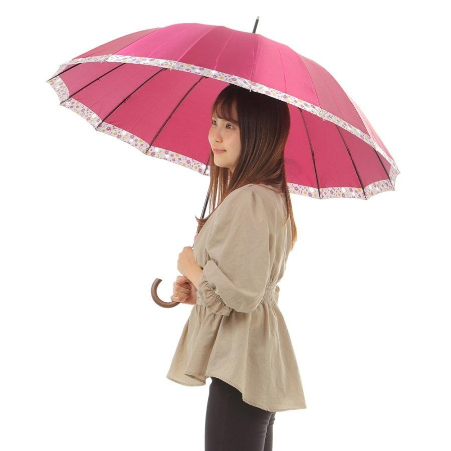 傘 レディース 高級感のあるサテン地 裾花柄 16本骨 60cm ジャンプ傘 無料包装 母の日 誕生日カード付 送料無料 okamoto-kasa 04