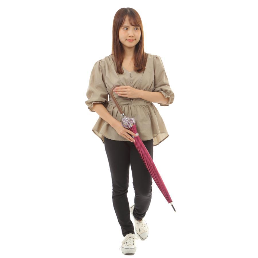 傘 レディース 高級感のあるサテン地 裾花柄 16本骨 60cm ジャンプ傘 無料包装 母の日 誕生日カード付 送料無料 okamoto-kasa 06