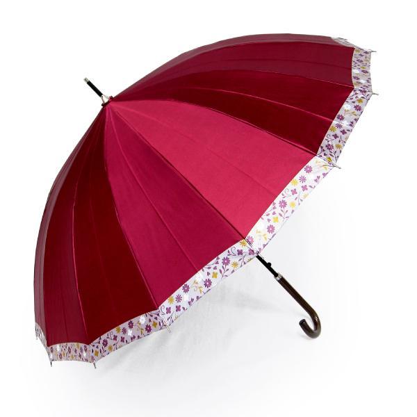 傘 レディース 高級感のあるサテン地 裾花柄 16本骨 60cm ジャンプ傘 無料包装 母の日 誕生日カード付 送料無料 okamoto-kasa 18