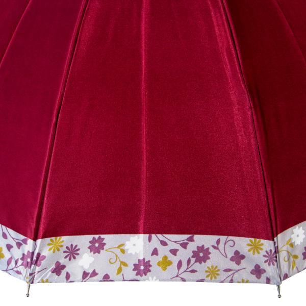 傘 レディース 高級感のあるサテン地 裾花柄 16本骨 60cm ジャンプ傘 無料包装 母の日 誕生日カード付 送料無料 okamoto-kasa 07