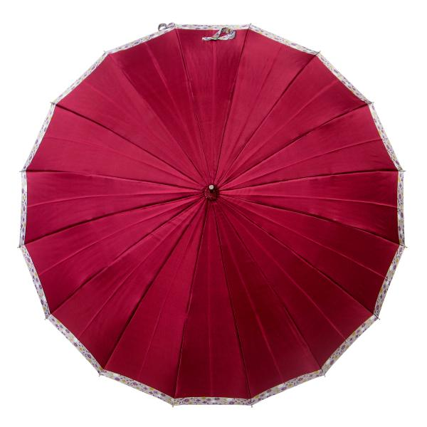 傘 レディース 高級感のあるサテン地 裾花柄 16本骨 60cm ジャンプ傘 無料包装 母の日 誕生日カード付 送料無料 okamoto-kasa 09