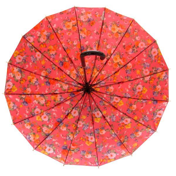 アルファベットで名入可能 傘 レディース 高級感のあるサテン生地に花柄プリント 16本骨 60cm ジャンプ傘 無料包装 母の日 誕生日カード付 送料無料 okamoto-kasa 03