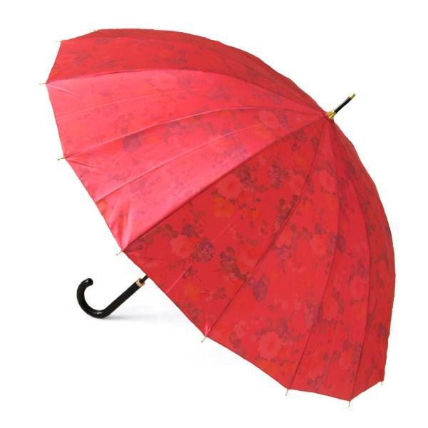 アルファベットで名入可能 傘 レディース 高級感のあるサテン生地に花柄プリント 16本骨 60cm ジャンプ傘 無料包装 母の日 誕生日カード付 送料無料 okamoto-kasa 04