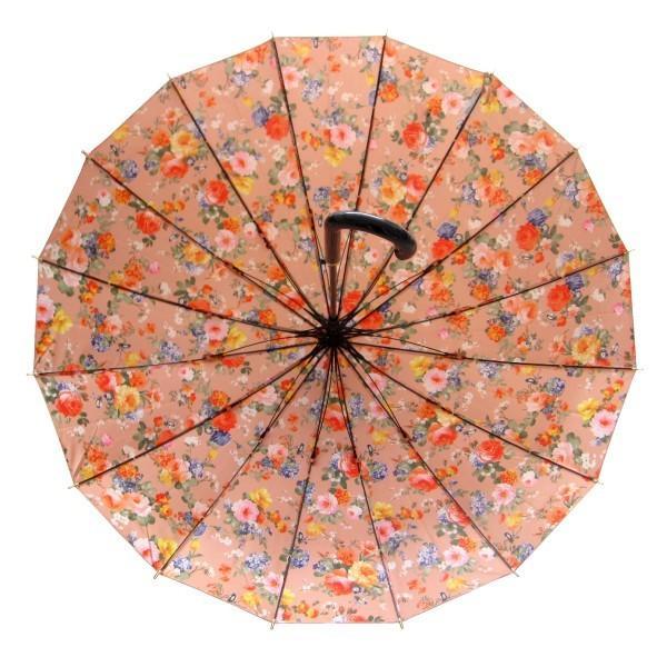 アルファベットで名入可能 傘 レディース 高級感のあるサテン生地に花柄プリント 16本骨 60cm ジャンプ傘 無料包装 母の日 誕生日カード付 送料無料 okamoto-kasa 08
