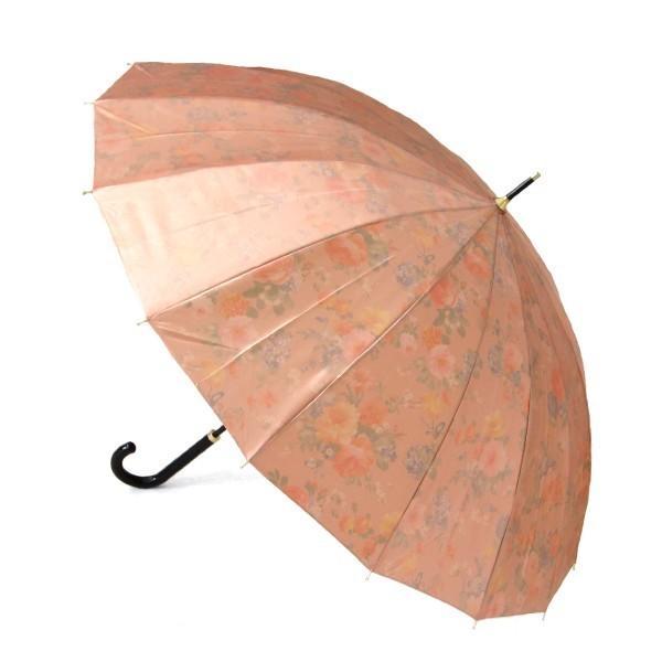 アルファベットで名入可能 傘 レディース 高級感のあるサテン生地に花柄プリント 16本骨 60cm ジャンプ傘 無料包装 母の日 誕生日カード付 送料無料 okamoto-kasa 09